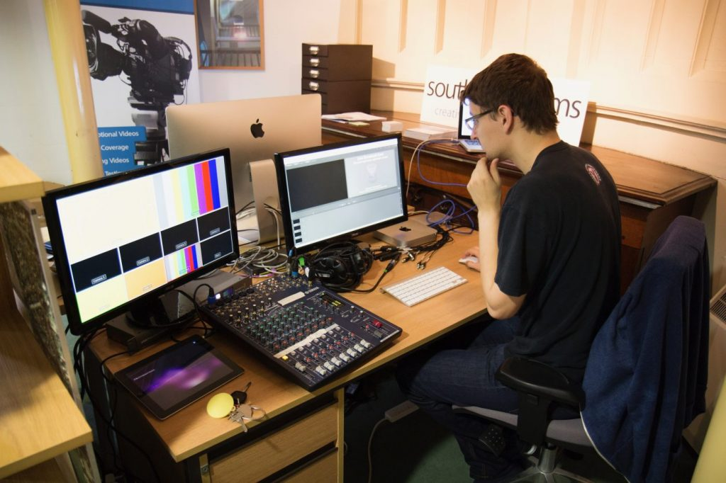 Testing our streaming setup at the Southpoint Films offices in Southampton, 2014
