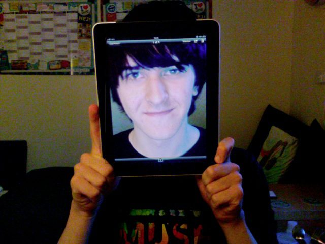 My creative job application when I was applying to work at Apple. I framed my face with an original iPad, which didn't have a camera