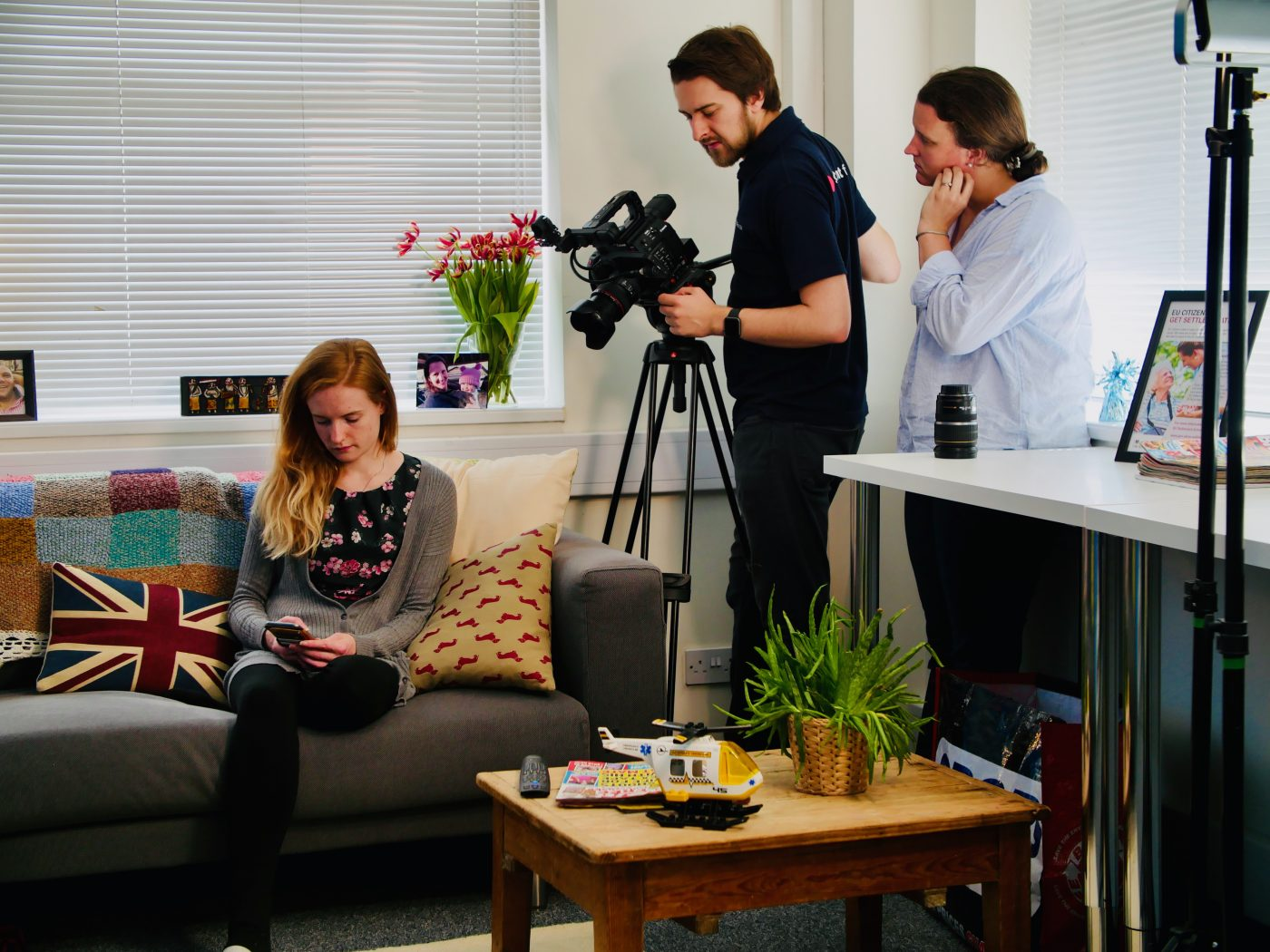 Filming for Care Friends, an app that helps care companies receive more job applications
