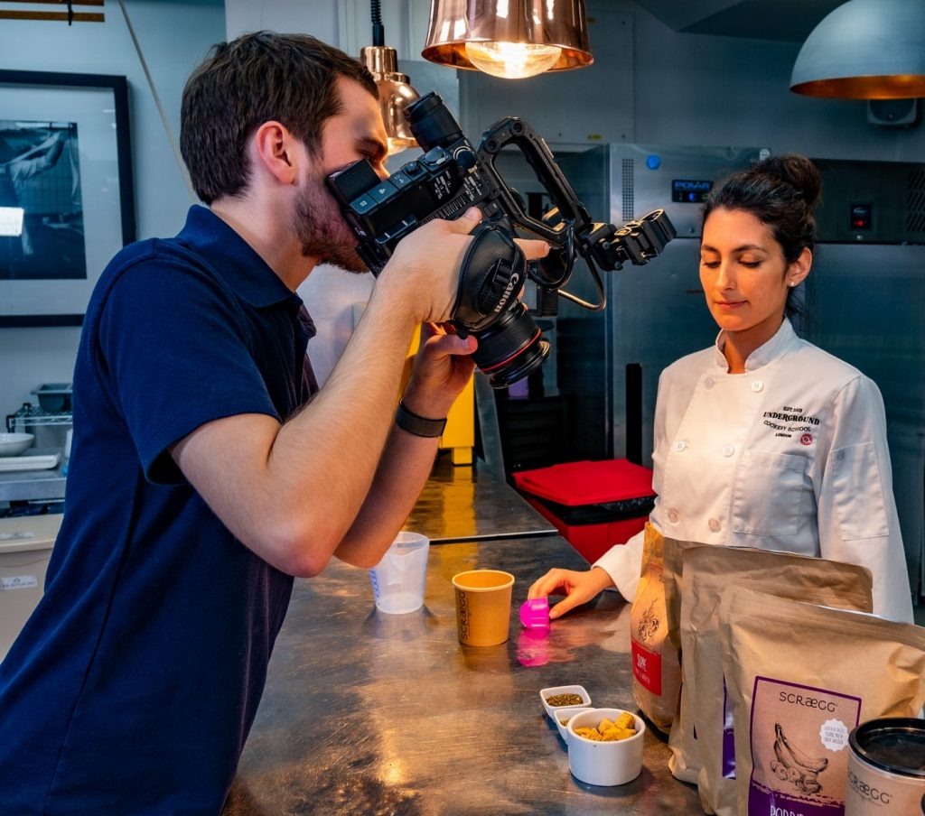 Filming for Eurofood at the London Underground Cookery School in Shoreditch, London.