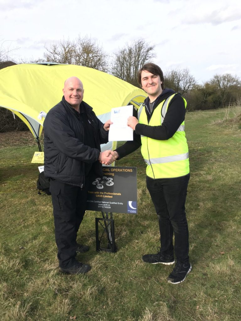 Southpoint Films' Managing Director Rowan Johnson receiving his NQE certification from UAV8 Ltd. This certification allows for CAA approval of Southpoint Films' aerial videography and photography services.