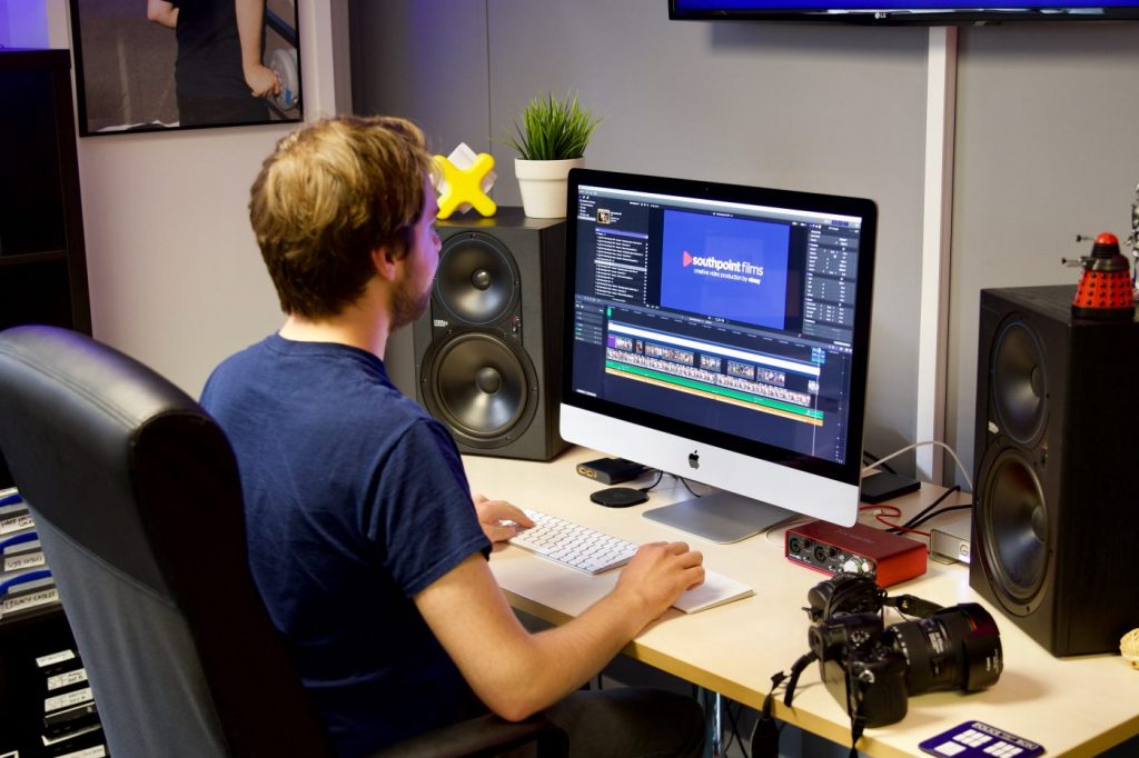 Southpoint Films founder Rowan Johnson working in the new edit suite