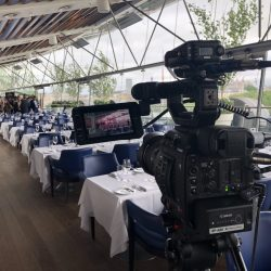 Filming the evening dinner at OXO Tower, London