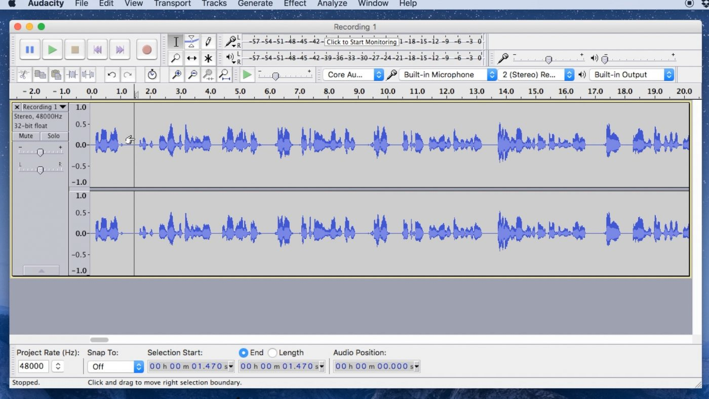 The playhead in Audacity shows where your audio will play from