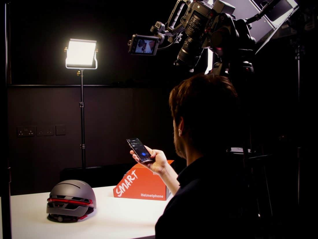 Filming the Livall Smart Helmet app