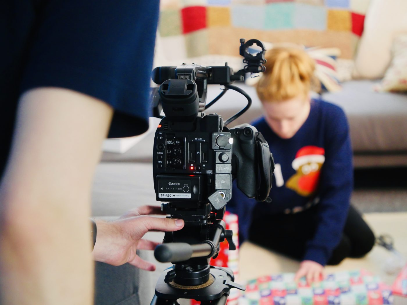 Filming a promotional video for the Care Friends app last year.