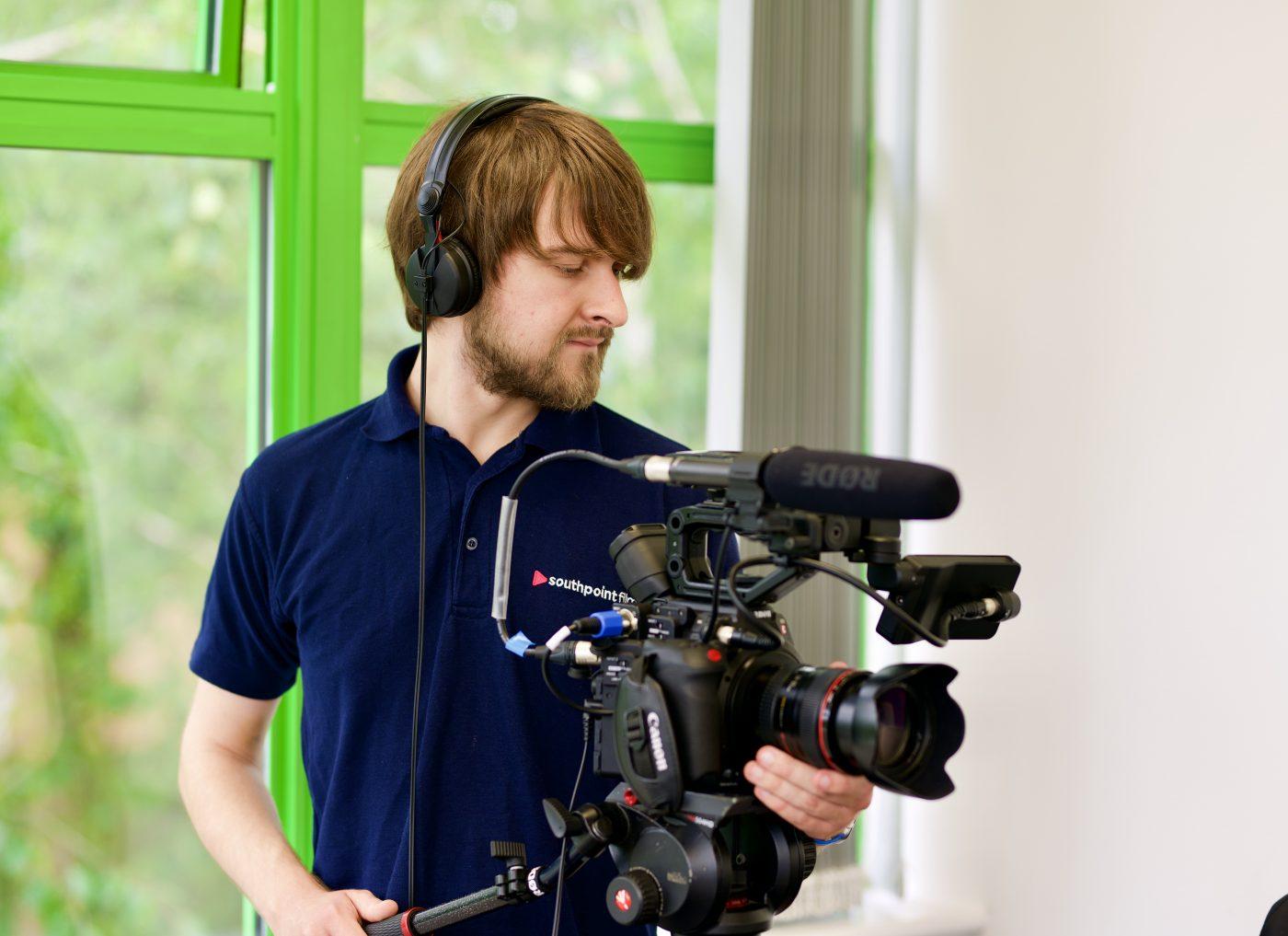 Rowan Johnson filming for Europump in June 2020