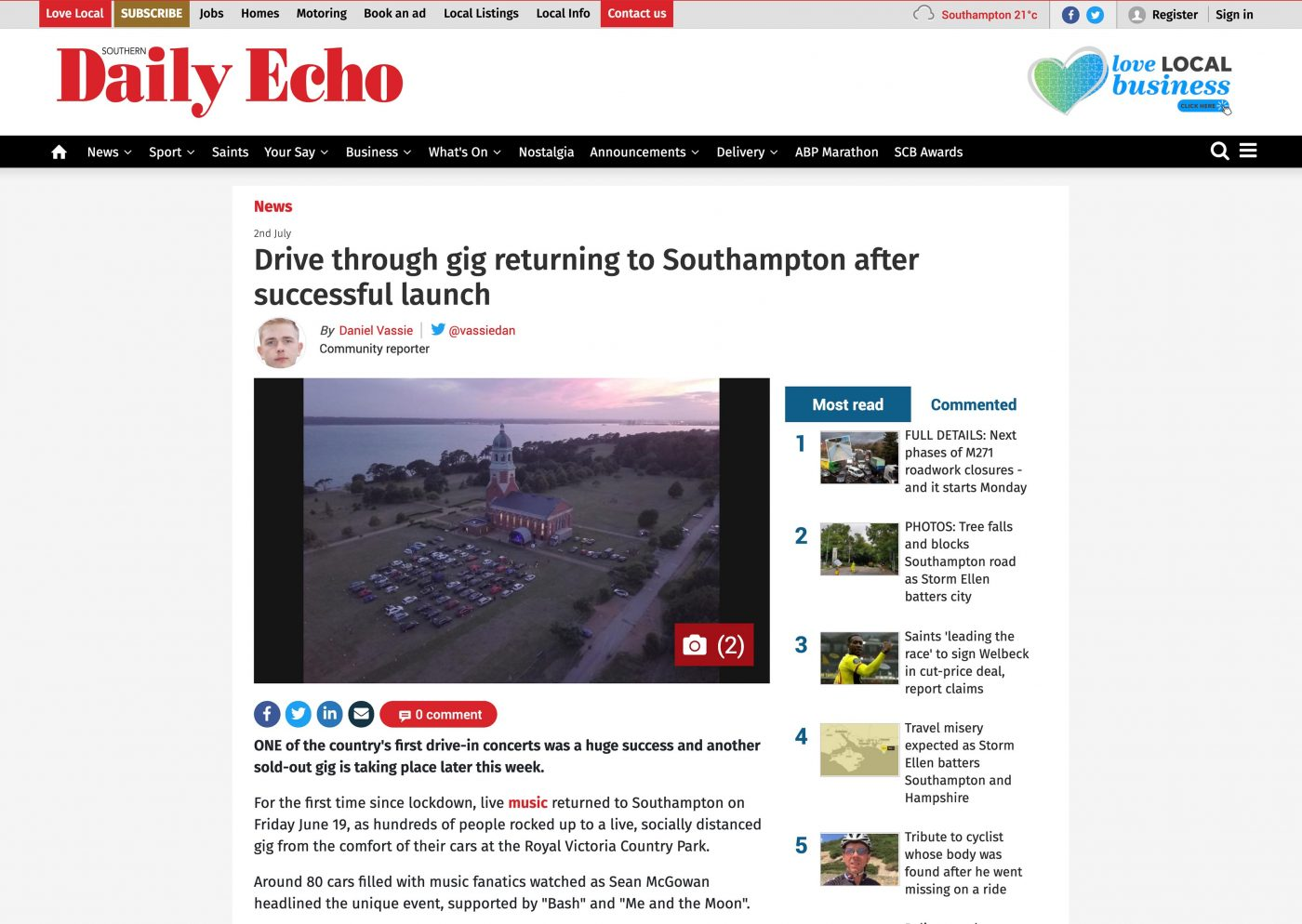Southern Daily Echo coverage of the Sound Level Events post-lockdown gig, featuring a Southpoint Films aerial photo