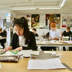 A student works on an art project
