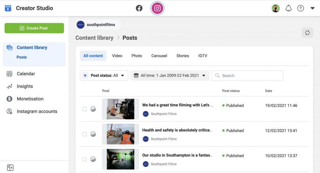 Facebook Creator Studio for Instagram
