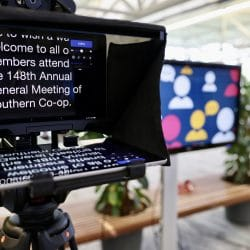 A close up of a teleprompter screen.